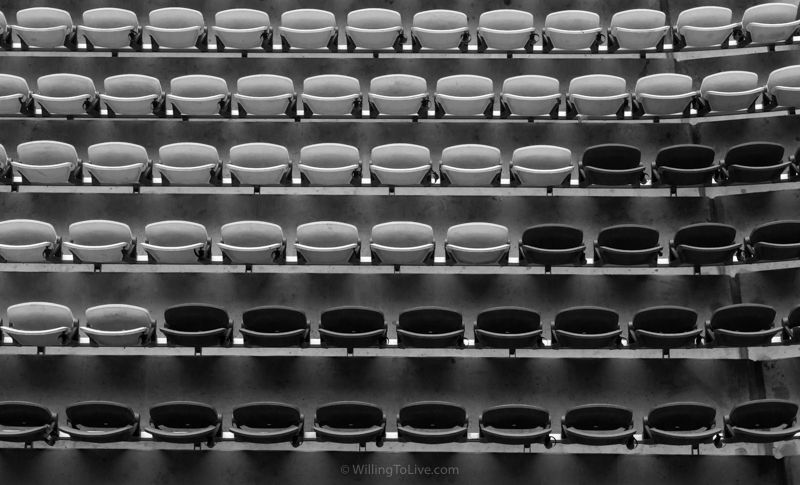 Black and white pattern of the grandstand | 96mm equiv.; f11; 1/60; ISO 800