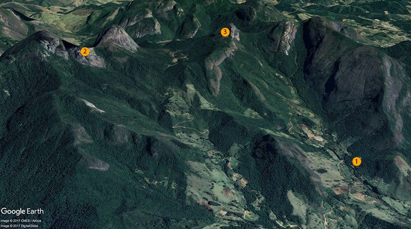 That is our challenge. The starting point, Refúgio Canto da Pedra (1); Três Picos (2); Cabeça de Dragão (3). Image credits: Google Earth, Image © 2016 DigitalGlobe, Image Landsat, Data SIO, NOAA, U.S. Navy, NGA, GEBCO, Image © 2016 CNES/Astrium.